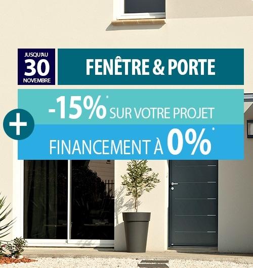 Fenêtres, baies vitrées et porte d'entrée : 15% de remise et un financement à 0%