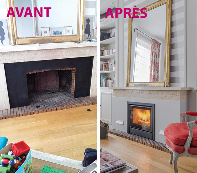 Avant et après la rénovation d'une cheminée ouverte