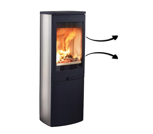 Poêle à bois bûche diffusant de l'air chaud par rayonnement
