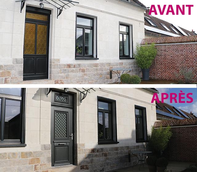 Avant et après les rénovations de porte et fenêtres
